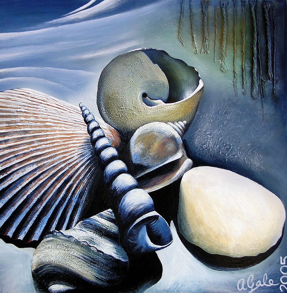 Textured shell painting by Amiria Gale
